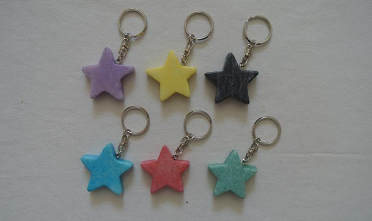 natural marble star keychain stone gift keychain colorful star keychain